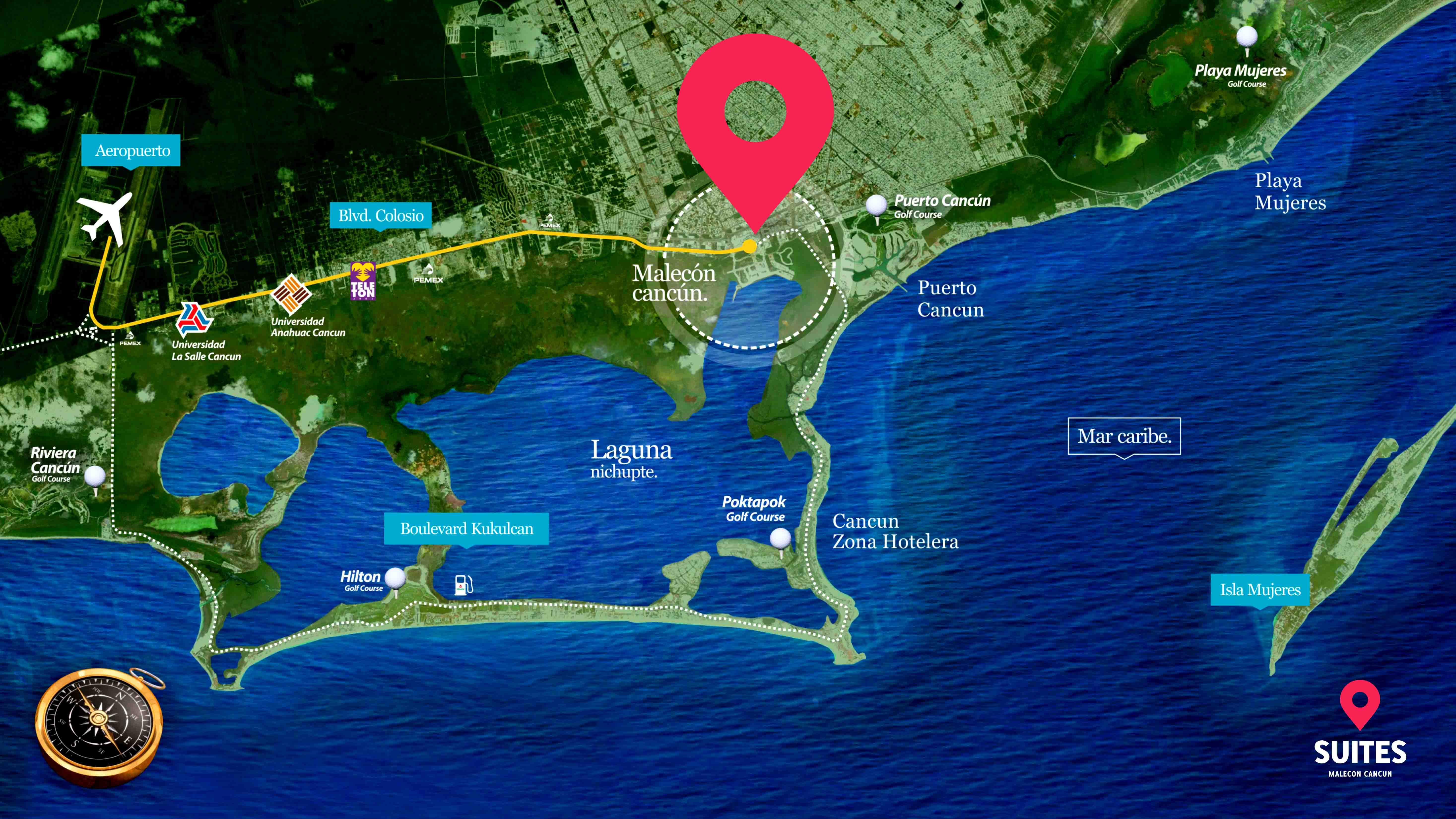 Mapa de Suites Malecon Cancún